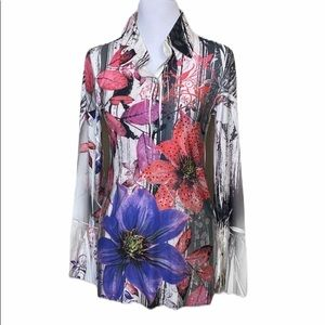 Aria Flair Sleeve Floral Print Tunic Blouse NWOT M